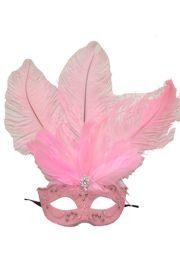 Pink Venetian Masquerade Mask with Rhinestones And Pink Ostrich Feathers