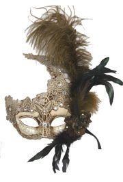 7in Wide x 17in Tall Venetian Macrame Cream/ Gold Mask w/ Rhinestones And w/ Feathers On The Side