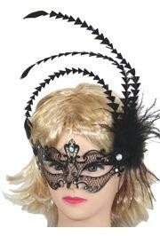 7in Wide x 15in Venetian Metal Black Laser-Cut Mask w/ Rhinestones And Feathers