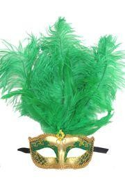 Green and Gold Paper Mache Venetian Masquerade Mask with Glitter Accents and with Green Large Ostric