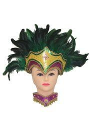 8in Tall x 11in Wide Mardi Gras Feather Headpiece Choker Set