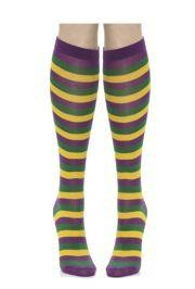 Mardi Gras Striped Socks Purple/Green/Yellow