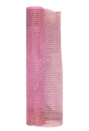 21in x 30ft Pink Mesh Ribbon/ Netting w/ Gold Metallic Stripes