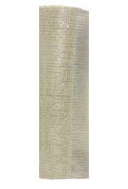 21in x 30ft Ivory Mesh Ribbon/ Netting w/ Silver Metallic Stripes