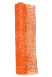 21in x 30ft Orange Mesh Ribbon/ Netting w/ Gold Metallic Stripes