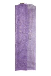 21in x 30ft Lavender Mesh Ribbon/ Netting w/ Gold Metallic Stripes