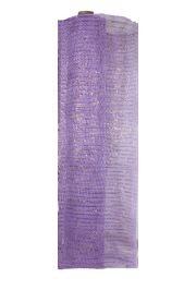 21in x 30ft Lavender Mesh Ribbon/ Netting w/ Gold Metallic Stripes