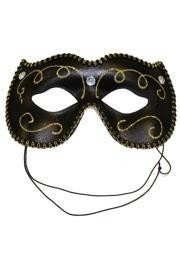 Black Venetian Masquerade Mask with Gold Glitter Scrollwork and Acrylic Stones