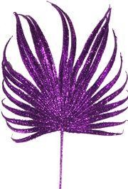 20in Tall x 8in Wide Decorative Glittered Purple Leaf