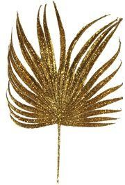 Decorative Glittered Gold Palm Leaf