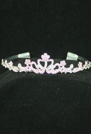 1in Tall Pink Rhinestone Silver Metal Tiara w/ Combs