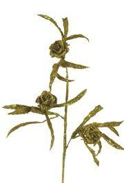 Glittered Gold Roses Stem