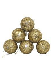 50mm Glittered Decorative Gold Ball Ornament