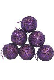 50mm Glittered Decorative Purple Ball Ornament