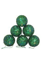 50mm Glittered Decorative Green Ball Ornament