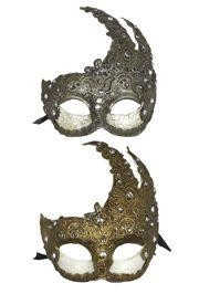 Silver and Dark Gold Macrame Masquerade Masks with Rhinestones