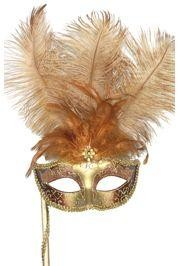 Dark Cream and Gold Venetian Masquerade Mask On A Stick with Large Ostrich Plumes