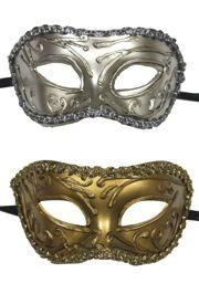 Assorted Silver and Gold Venetian Masquerade Masks with Trim Around The Edges