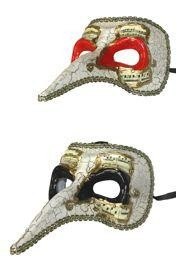 Hand Painted Venetian Masquerade Mask with Musical Notes Design