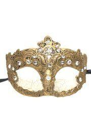 Gold Venetian Macrame Masquerade Mask with Rhinestones