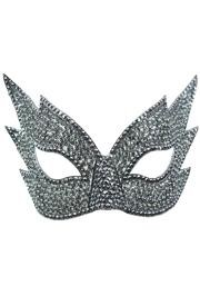 Grey Rhinestone Eye Masquerade Mask