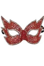 8in Wide x 5 1/2in Tall Red Rhinestone Eye Mask