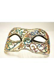 6in Wide x 3 1/4in Tall Multicolor AB Rhinestone Eye Mask
