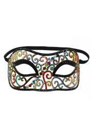 Multicolor Black Rhinestone Eye Masquerade Mask