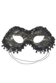 Black Lamei Masquerade Mask with Lace and Beads
