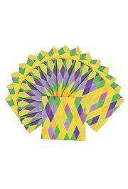 5in x 5in Prismatic Mardi Gras 3-Ply Beverage Napkins