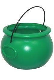 8in Plastic Green Candy/ Doubloons/ Coins Pot-O-Gold Cauldron