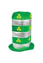 15in Tall Metallic Silver/ Green St Patrick Hat w/ Shamrock Design