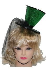 6in Wide x 5in Tall Green Glittered Mini Top Hat