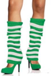 22in Long Green/ White Leg Warmers