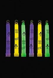 6in Mardi Gras Print Glow Sticks