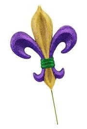 6in Long x 4in Wide Purple/ Green/ Gold Fleur De Lis Pick