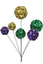 16in Sequin Wrapped Purple/ Green/ Gold Ball Spray