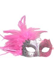 Light Pink and Silver Masquerade Mask with Light Pink Feathers