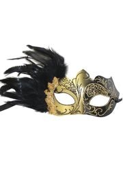 Black and Gold Masquerade Mask with Black Feathers