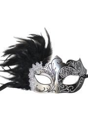 Black and Silver Masquerade Mask with Black Feathers