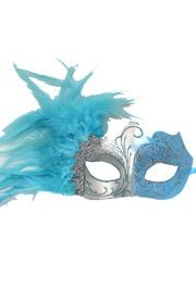 Light Blue and Silver Masquerade Mask with Light Blue Feathers