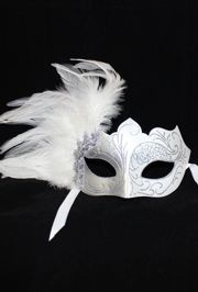White and Silver Masquerade Mask with White Feathers