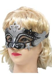 Black and Silver Masquerade Mask With Rhinestones