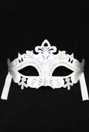 White and Silver Masquerade Mask With Rhinestones