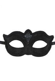 Black Cat Eye Masquerade Mask with Black Glittery Scrollwork And Rich Fabric Trim