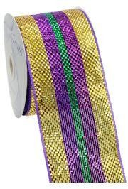 4in x 75ft Premium Mardi Gras Stripes Mesh Ribbon/ Netting