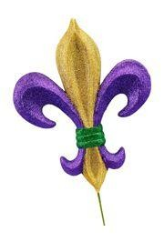 10in Long x 8in Wide Purple/ Green/ Gold Fleur De Lis Pick