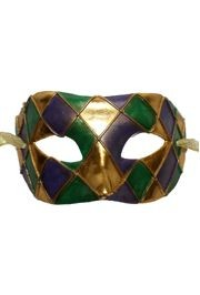 Harlequin Masquerade Mask with Gold Ties