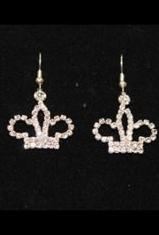 1 1/2in Long Silver Crown Rhinestone Earrings