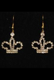 1 1/2in Long Gold Crown Rhinestone Earrings
